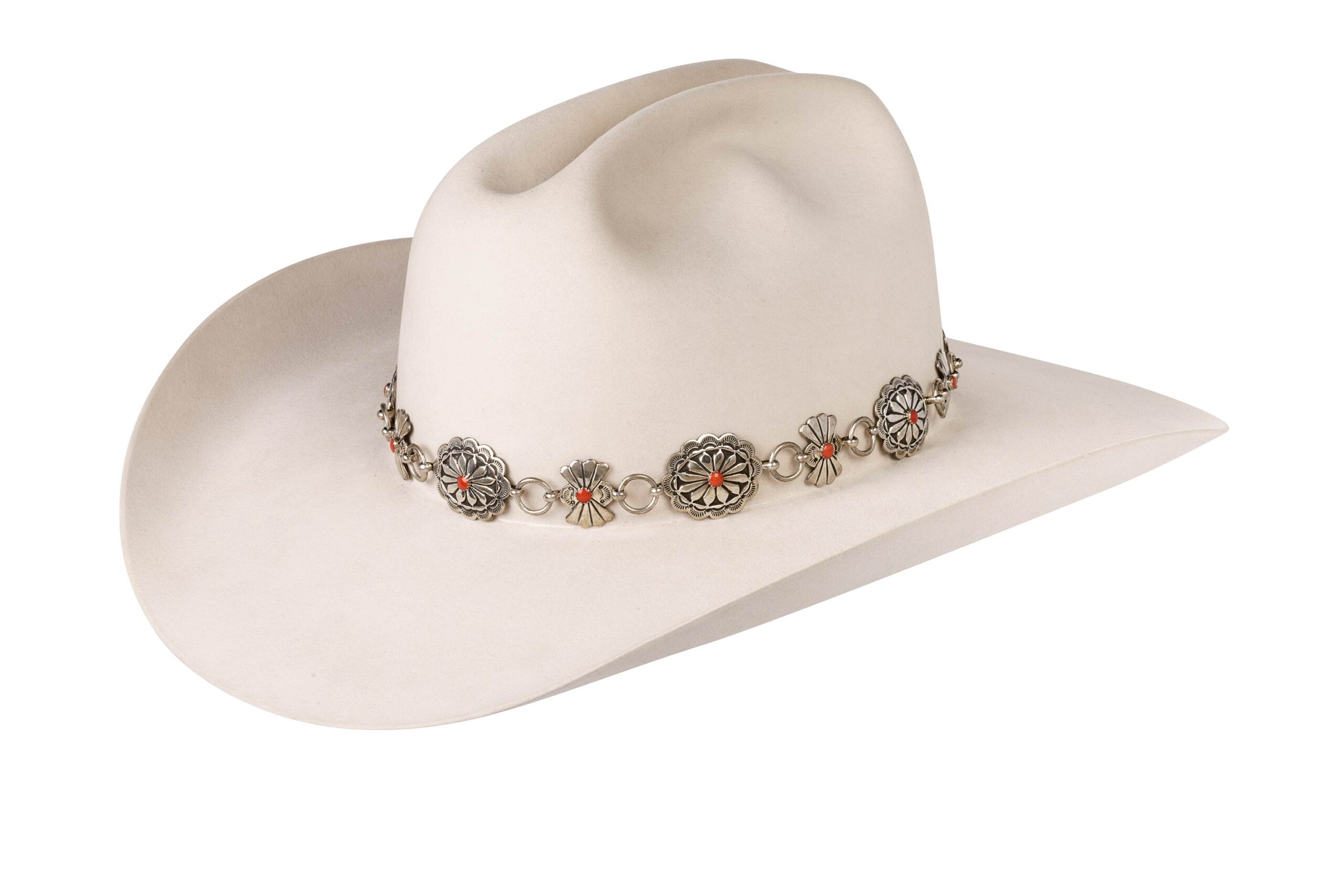 Elroy Linked Sterling Concho and Upright Butterflies Hat Band