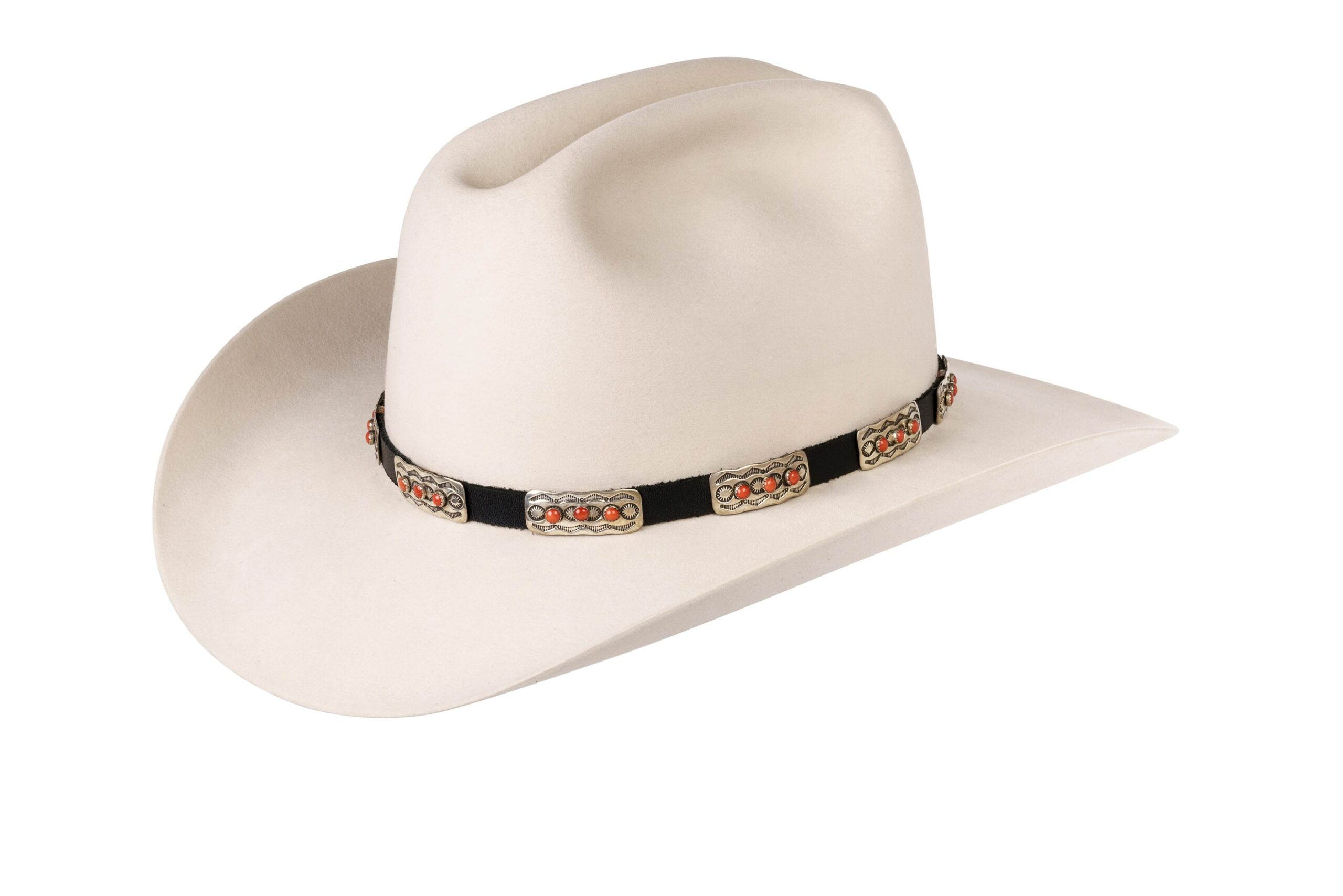 Elroy Mediterranean Coral on Elongated Sterling Hat Band