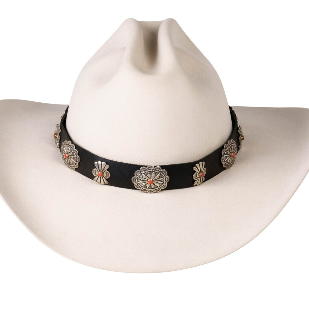 Elroy Wide Oval and Butterfly Sterling Conchos Hat Band