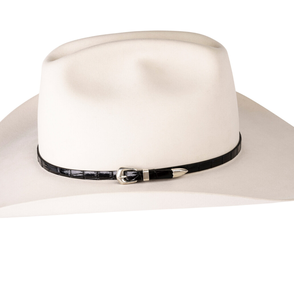 Kallas Black Gator Sterling Buckle Hat Band 5893