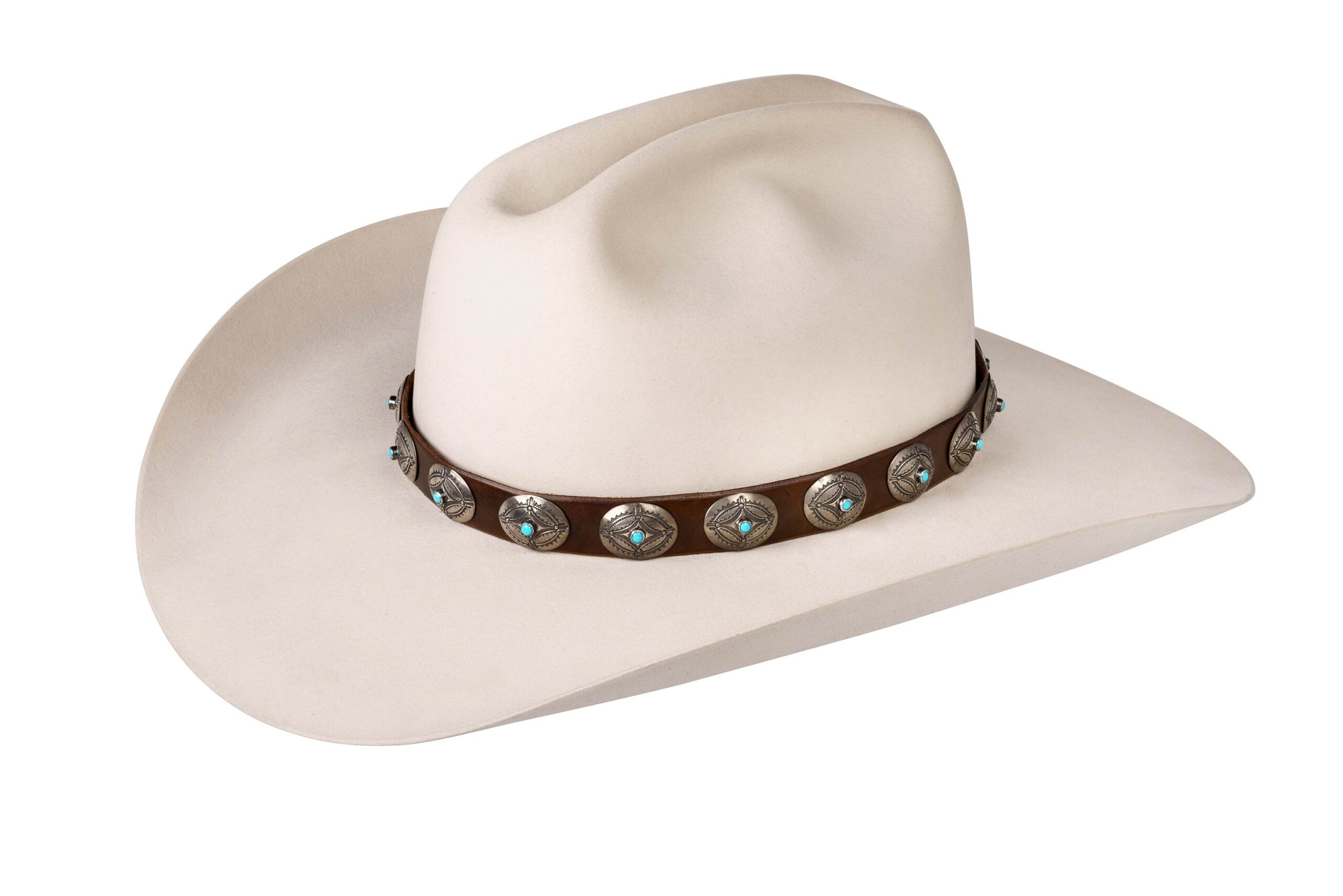 Ohlinger Engraved Wide Oval with Turquoise or Coral Hat Band