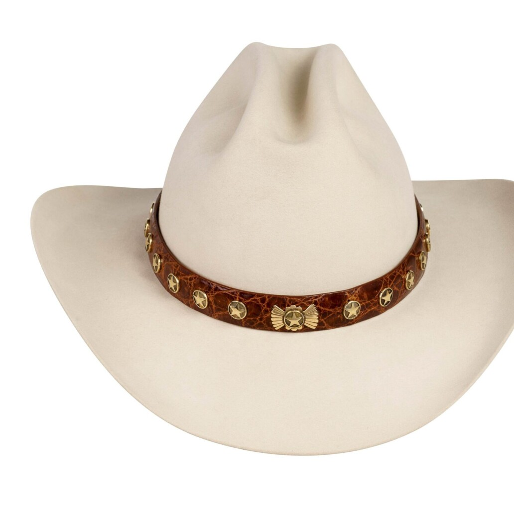Lone Star 14K Gold on Cognac Hat Band
